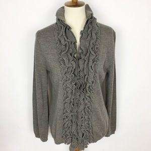 GARNET HILL Merino Wool Ruffled 1-Button Cardigan